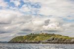 Seguin Island and Lighthouse at Mouth of Kennebec River, View from Atlantic Ocean near Georgetown, ME