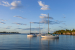 Evening Light Shining on Sailboats in Anchorage at Jewell Island, Casco Bay Region, Cumberland and Portland, ME