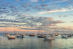 Sunset over Boats in Provincetown Harbor, Cape Cod, Provincetown, MA