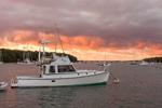 "Motor Cruiser ""Friendship"" at Sunset on Lake Tashmoo, Martha's Vineyard, Tisbury, MA"