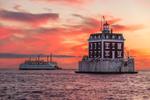 Cross Island Ferry near New London Ledge Light at Sunset, Long Island Sound, New London, CT