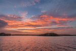 Sunset over Plato Island and Gardner Island at Point Judith Pond, South Kingstown, RI