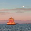 """Super"" Moon at Sunset at New London Ledge Light, Long Island Sound, New London, CT"