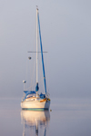 Early Morning Light Shines through Fog on Sailboat Anchored in Calm Waters of Connecticut River near Nott Island, Lyme, CT