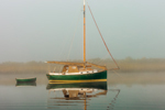 Sailboat in Early Morning Fog on Connecticut River near Nott Island, Lyme, CT