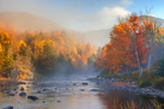 Sun Shining Through Early Morning Fog over West Branch Ausable River in Fall, Sentinel Range Wilderness, Adirondack Park, North Elba, NY