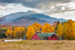 Red Barn and Mountains in High Peaks Wilderness Area in Autumn, Adirondack Park, North Elba, NY