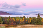 Fog at Sunrise over Mountains and Valleys in Autumn, High Peaks Wilderness Area, Adirondack Park, North Elba, NY