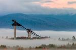 Ski Jump at Olympic Stadium (Van Hoevenberg Complex) Rises from Fog at Sunrise, High Peaks Wilderness Area, Adirondack Park near Lake Placid, North Elba, NY