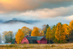 Fog at Sunrise over Red Barn and Mountains in Fall, High Peaks Wilderness Area, Adirondack Park, North Elba, NY