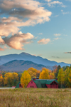 Red Barn and Mountains in Autumn, High Peaks Wilderness Area, Adirondack Park, North Elba, NY