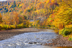 Beaverkill River in Fall, Catskill Mountains, Catskill Park, Roscoe, NY