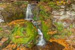 Moss-covered Rocks and Waterfall on Tributary of West Branch Neversink River, Catskill Mountains, Catskill Park, Denning, NY