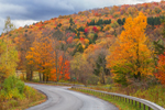 Country Road through Catskill Mountains in Fall, Catskill Park near Grant Mills, Middletown, NY