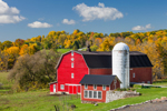 Red Barns and Silo at Historic Slate Creek Farm in Early Autumn, First Established 1834, near Hallsville, Minden, NY