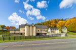 Yellow Barns and Silos in Early Fall, Cooperstown, NY