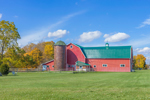 Red Barn and Silo in Early Fall at The Dawson Farm, Village of Amity, near Belmont, NY