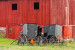 Close Up of Big Red Barn with Black Amish Carriages, Steuben County, Jasper, NY