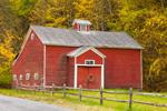 Old Red Barn with Split Rail Fence in Catskill Mountains, Catskill Park, Roscoe, NY