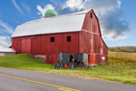 Big Red Barn with Black Amish Carriages, Steuben County, Jasper, NY