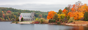 Old Stone Church Historic Site (Built 1891) at Wachusett Reservoir in Autumn, West Boylston, MA