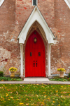 Close Up of Red Door on St. Thomas Episcopal Church in Autumn, Village of Amenia Union, Amenia, NY