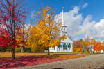 1794 Meeting House with Maple Trees in Fall, New Salem Common Historic District, New Salem, MA