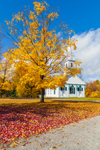 1794 Meeting House with Sugar Maple Tree in Fall, New Salem Common Historic District, New Salem, MA