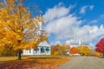1794 Meeting House and Central Congregational Church with Maple Trees in Fall, New Salem Common Historic District, New Salem, MA