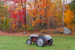 1953 Ford Tractor and Wood Pile in Fall, Royalston, MA