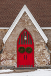 Close Up of Red Door with Wreaths on St. Thomas Episcopal Church in Winter, Village of Amenia Union, Amenia, NY