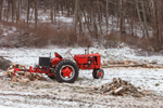 Old Case VAC Tractor with Log Splitter in Winter, Falls Village, Canaan, CT