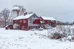 Old Red Barns and Silo in Winter, Hamlet of Ancramdale, Ancram, NY