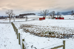 Red Barns, Fences and Fields on Rural Farm in Winter, Taconic Mountains Region, Hamlet of Ancramdale, Ancram, NY