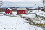 Red Barns and Stream on Rural Farm in Winter, Taconic Mountains Region, Hamlet of Ancramdale, Ancram, NY