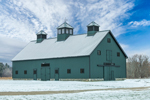 Barn with Three Cupolas on Stillwater Farm in Winter, Salisbury, CT