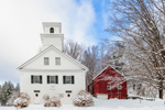 South Wardsboro First Congregational Church and Red Barn in Winter, Villalge of South Wardsboro, Wardsboro, VT