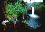 Visitors photograph Rainbow Falls, Hilo, Big Island, Hawaii