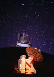 Smithsonian Observatory & Japanese National Large Telescope at night, Mauna Kea, Big Island, Hawaii