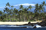 KUKIO BEACH & MAUNA KEA WITH SNOW, SOUTH KOHALA, BIG ISAND, HAWAII