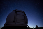 Keck Observatory &amp; stars at moonrise, Mauna Kea summit, Big Island, Hawaii