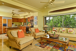 Hualalai Resort Golf Villa Living Room & kitchen, South Kohala, Big Island, Hawaii