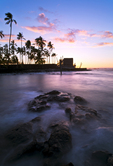 Keone'ele Cove & Hale o Keawe at sunset, Pu'uhonua O Honaunau National Historic Park, Big Island, Hawaii