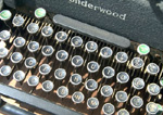 Detail, antique manual typewriter keys.