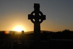Celtic crosses at sunset, County Galway, Ireland.