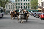 Horse-drawn carriages (caleche) on city street, old Quebec City, Canada.