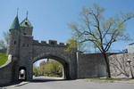 City wall with tower and entrance gate, Quebec, Canada.
