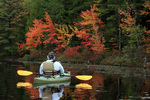 Marlborough, New Hampshire, NH, fall foliage on Meetinghouse Pond, Jeff Russell fishin from kayak, MR