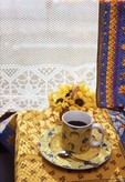 M8-Coffee at sunny breakfast nook decorated in French country theme  9851