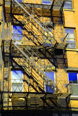 Haverhill, MA. Essex Street building with fire escape. Color enhanced.